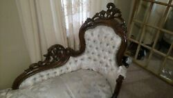 Vintage Antique Fainting Couch Chase Distinctive Carved Wood Beautiful