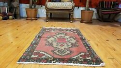 """Vintage 1950-1960s Beautiful Wool Pile Natural Dyes Cushion Cover Rug 2'x3'5"""""""