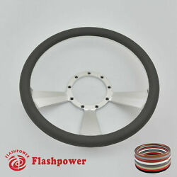 14and039and039 Billet Steering Wheels Dark Gray Half Wrap Gm Fury Belvedere Gto Ford