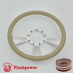 14and039and039 Billet Steering Wheels Tan Half Wrap Street Rod Gm Corvair Impala Chevy Ii