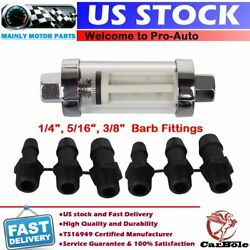 Universal 1/4 5/16 3/8 Glass Inline Fuel Filter In/out Marine Boat 15psi 400hp