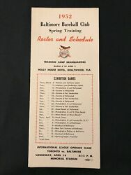 1952 Baltimore Orioles Spring Training Roster Media Guide Schedule Amoco Gas
