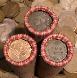 ✯ Three 1859-1958 Lincoln Wheat Cent Penny Rolls ✯ With Indian Cents