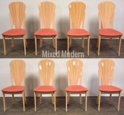 Modern Scalloped Italian Dining Chairs- Set Of 8