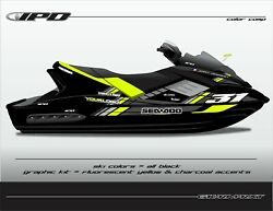 Ipd Jet Ski Graphic Kit For Sea Doo Gen-1 Rxt And Gtx 4-tec Rm Design