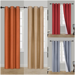 2 Panel 100 Thermal Blackout Bronze Grommet Window Lined Panel Curtain Aaa 84