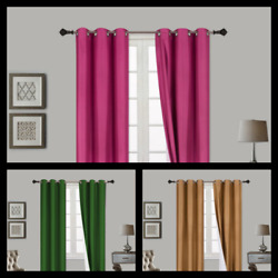 2 Panel 100 Thermal Blackout Bronze Grommet Window Lined Panel Curtain Aaa 95