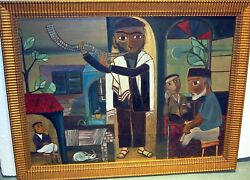 Judica Rabaii And Shofar C 1968 Bymiki Oil On Canva Spainting Fine Details Large