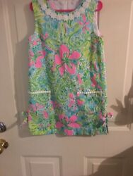 Lilly Pulitzer Girls Classic Shift Dress in Coconut Jungle Size 7 EUC