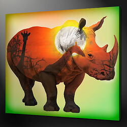 African Rhino Canvas Print Picture Wall Art Home Decor Free Fast Delivery