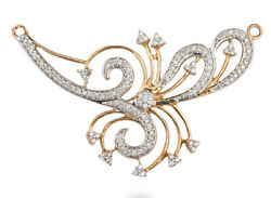Christmas 2.40ct Natural Round Diamond 14k Yellow Gold Mangalsutra Necklace