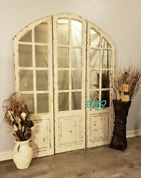 Distressed Vintage Rustic Shabby Chic Arched Windowpane Mirror Wall Art Panels