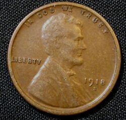 1918-s San Francisco Mint Lincoln Wheat Cent Penny An2