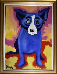 George Rodrigue Blue Dog Chien Bleu Oil And Acrylic on Canvas Signed Artwork