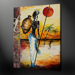 Woman Fetching Water African Theme Canvas Picture Print Wall Art