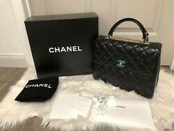 Authentic NWT Chanel Large Top Handle TRENDY CC Flap Bag in BLACK Lambskin Gold
