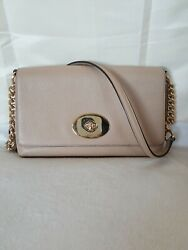 COACH Crosstown Crossbody Turnlock Polished Glod Tone Light Brown Leather Bag $129.99
