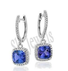 Christmas 1.52ct Natural Diamond Sapphire White Gold Hoops Snap Closure Earring