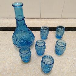 Blue Bottle/small Glass Set Embossed Shot Glasses Summer Great Condition