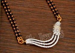 Christmas 1.98ct Natural Round Diamond 14k Yellow Gold Mangalsutra Necklace