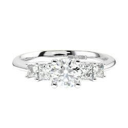 0.90 Carat Claw Set Round And Princess Cut Diamonds Engagement Ring In 18k Gold