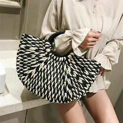 Black White Straw Handbag Women Weaving Bag Multicolor Travel Totes Solid Color $37.69