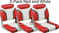 New 3-pack Of Red And White Folding Boat Seats Boating Bass Fishing Pontoon Set
