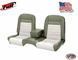 Deluxe Pony Seat Upholstery Mustang Coupe Front/rear Bench - Ivy Gold And White