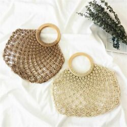 Woven Straw Totes Women Hollow Bag Mesh Rope Weaving Handbags Wooden Handle $23.99