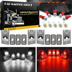 10X Red + White LED Roof Top Clear Lens Cab Marker Light for 2003-2009 Hummer H2