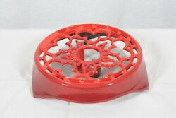Le Creuset Red Enameled Cast Iron Trivet With Candle Holder Size 9 Diameter New