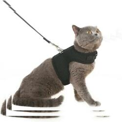 Escape Proof Cat Harness with Leash - Adjustable Soft Mesh - Best L BLACK