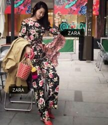Zara Floral Print Trousers Size M Bnwt Bloggers Favorite Sold Out Rrp Andpound40