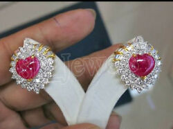 2.10ct Natural Round Diamond Ruby Gemstone 14k Solid White Gold Stud Earring