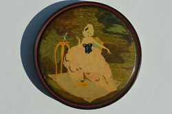 Canco Candy Tin Great Graphic Depicting A Fancy French Lady Sitting On A Chair