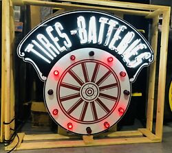 AMAZING Large TIRES BATTERIES Car Dealership NEON Sign STORE DISPLAY Man Cave