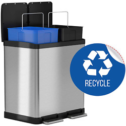 iTouchless 16 Gallon Dual Step Trash Can & Recycle Bin Stainless Steel 2 x 8 30L