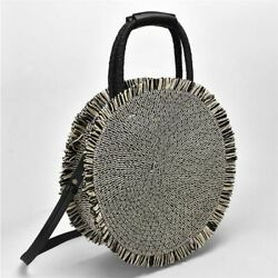 Round Tassel Straw Handbag Bag Women Beach Woven Big Fringed Travel Totes Open $36.39