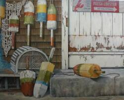 Lobster Trap Buoys Oil Painting Original Nautical Canvas Wall Art By Guillemette