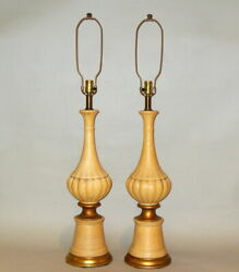 Pair Mid Century Modern Textured Ceramic Yellow Pottery Lamps Hollywood Regency