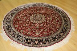 Red Round Oriental Persian Hand Knotted Silk Rug Carpet,oriental Decor Style Mad