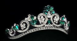 Real 925 Sterling Silver Cz Tiara Green Pear White Round Handmade Wedding-royale