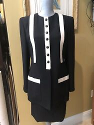 Valentino Couture Line Black Skirt Suit With White/ivory Trim Size 8 Nwot