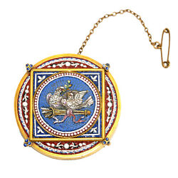 2607 Micromosaic And Gold Brooch. Roma, Second Half Of 19th C.
