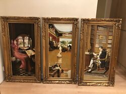 Gorgeous Opulent Set Of 3 Gold Antique Wood Framed Oil Paintings On Canvas Thick