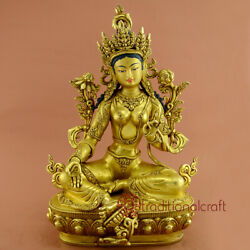 Hand Made Gold Gilded With Face Painted Green Tara Statue From Nepal