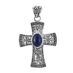 925 Sterling Silver Lapis Lazuli Cross Pendant Gift Jewelry for Women Cttw 2.3
