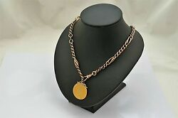 Rare Victorian Hm 9ct Solid Gold Albert Necklace With 22ct Spade Guinea Pendant