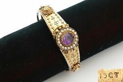 Rare Victorian Hm 15ct Gold Amethyst And Seed Pearl Hinged Bangle 15.2 G