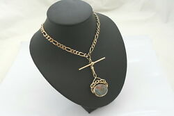 Rare Vintage Hm 9ct Solid Gold Figaro Necklace With T Bar And Bloodstone Fob